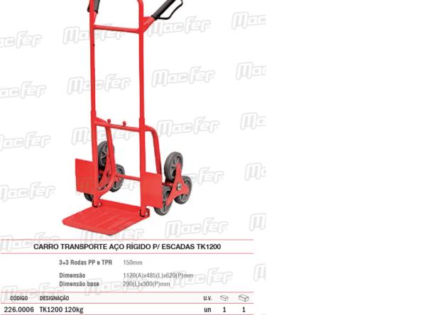 Carro Transporte Aço Rígido Para Escadas TK1200