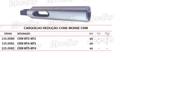 Casquilho Redução Cone Morse CRM MT3 / MT2