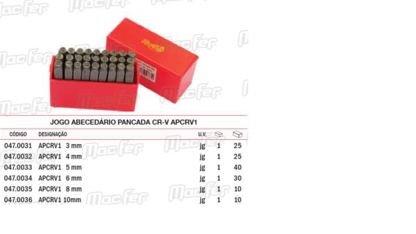 Jogo Abecedário Pancada CRV NPCRV 1 4mm