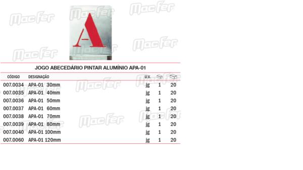 Jogo Abecedário Pintar Alumínio APA 01 50mm