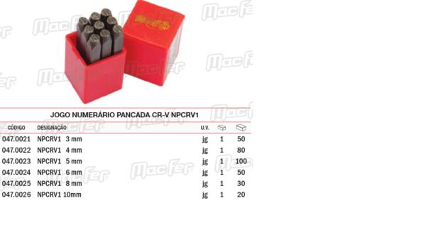 Jogo Numerário Pancada CRV NP CRV1 8mm
