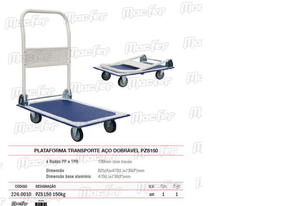Plataforma Transporte Aço Dobrável PZS150